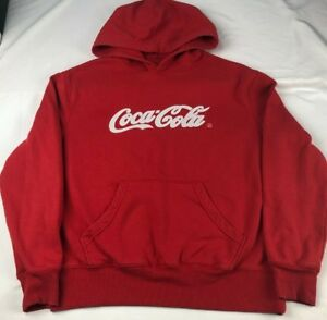 c6b55e267 COCA COLA logo spellout red stitched sweatshirt hoodie MEN'S MEDIUM spell  out