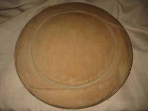 Carved Wooden Bread Board Wheat Design Out Of Round Wood 11 X11 5 Antique
