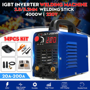 220v 200a Mma Arc Welding Machine Igbt Inverter Stick Welder W Mask 14pcs Kit