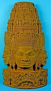 Vintage Southeast Asian Carved Wood Three Buddha Face Wall Plaque 2