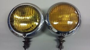 Pair Of Mopar Yellow Fog Lights Corcoran Brown Cincinnati Lamp Chrome Accessory