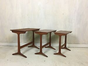 Heltborg Danish Modern Teak Nesting Tables Side Tables Accent Tables