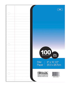 Bazic W r 100 Ct Filler Paper case Of 36