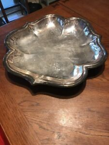 Clover Silverplate 3 Leaf Large Platter 16 Ball Footed Plate Platter Vintage