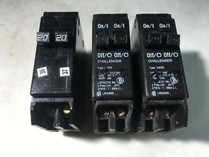 Challenger A2020 20a 2 Pole Twin Tandem 120 240 v Circuit Breakers Lot Of 3