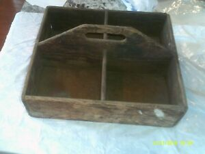 Vintage Primitive Wood Box With Dividers And Handle Caddy Tool Box