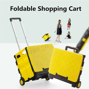 Foldable Plastic Shopping Cart Trolley Portable Pack roll Folding Grocery