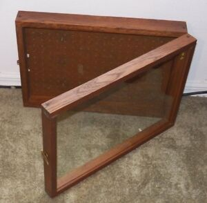 Vintage Oak Display Case Glass Front W Hasp Wall Table Mount