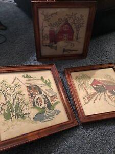Vintage Gorgeous Wood Framed Needlepoint Pictures Of A Barn Bridge