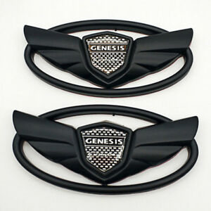 2pcs Genesis Coupe Glossy Front Grille Or Trunk Badge Black Wing Emblem