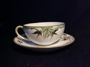 Vintage Cup And Saucer Set Nippon Hand Painted W Raised Gold Tea Cup Saucer