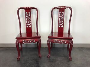 Chinese Carved Rosewood Mother Of Pearl Inlay Dining Side Chairs Pair 1