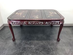 Chinese Carved Rosewood Mother Of Pearl Inlay Dining Table