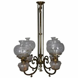 Early Brass Kerosene 4 Light Gas Chandelier Circa 1870