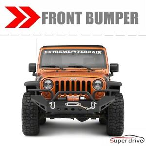 For 07 18 Jeep Wrangler Jk Black Textured Front Bumper With Winch Plate D rings