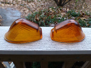 Vintage Dietz 515 2 Amber Truck Clearance Glass Light Lenses