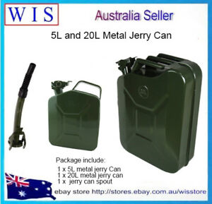 2 Pk 20l 5l Jerry Can Grn Steel Gasoline Gas Fuel Tank Emergency Backup Military