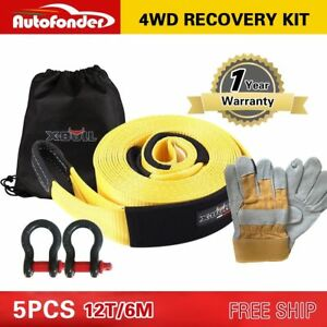 12t Recovery Kit 4wd Heavy Duty 6m Snatch Strap 2bow Shackle leather Gloves