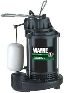 Wayne 1 3 Hp Cast Iron Submersible Sump Pump With Vertical Float Switch Usa