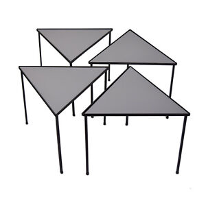 Vintage Mid Century Modern Set Of Four Triangle Stacking Side Tables