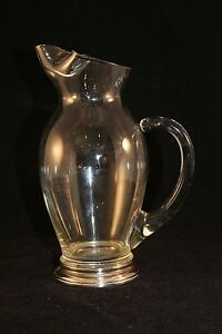Whiting Co Sterling Silver Base Glass Pitcher Floating Handle