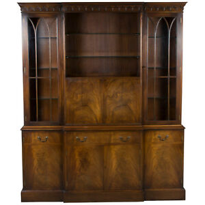Vintage Antique Style Large Breakfront Bookcase With Liquor Cabinet Cocktail Bar