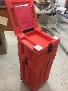 Nomadic Display Pop up Trade Show Red Rolling Storage Travel Case