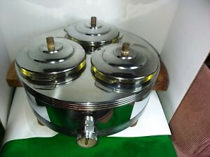 Vintage Deco Chase Pyrex Lined Covered Chrome Food Warmer W Bakelite Handles