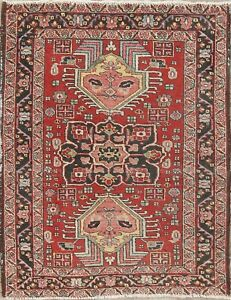 Antique Old Geometric Red Heriz Persian Oriental Hand Knotted Wool Rug 3x4