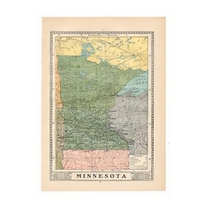 Vintage Map Of Minnesota From 1902 Disbound Book The University Encyclopedia