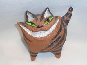 Vtg Grinning Cat Sculpture Mcm Funky Mod Brutal Pottery Art Abstract Cheshire