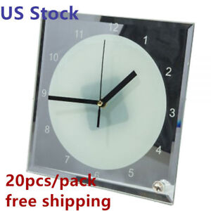 Us Stock 20pcs ctn 7 8 X 7 8 Sublimation Blank Glass Photo Frame With Clock
