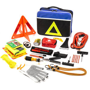 98 Pc Roadside Assistance Auto Emergency First Aid Kit Tool Cables Tire Repair
