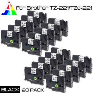 20pack Tz221 Tze221 Black On White Label Tape For Brother P touch Pt 1280sr 3 8