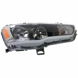 Headlight For 2009 2017 Mitsubishi Lancer Right Clear Lens Halogen With Bulb