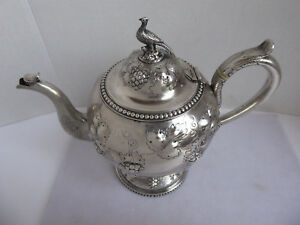 American Coin Silver Teapot Jones Ball Co Circa 1850 Bird Finial