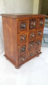 Old Vintage Small Chest Of Drawers Handmade Miniature Tiny 12 Drawer Wooden Rack