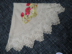Antique Silk Stitch Embroidered Linen Round Tablecloth Crocheted Border Pointed