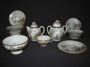 Antique 23 Pc Japanese Eggshell Porcelain Dishware Hand Painted Geisha Signed