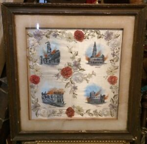 Beautiful Antique French Silk Floral Hand Embroidery Needlework Albert Ypres