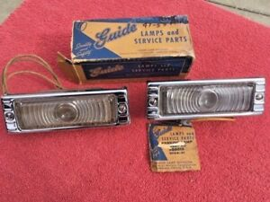 1947 1953 Chevrolet Pickup Truck Nos Guide Park Light Housing Bezel Lens Pair