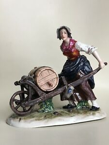 Bohne Sohne Volkstedt German Figurine Woman W Wheelbarrow Holding A Whiskey Keg