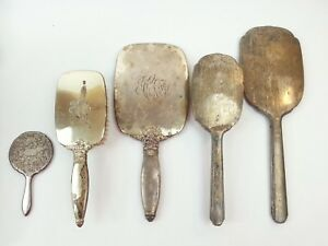 Sterling Silver Antique Brushes Handheld Mirrors By S B Saart Brothers R B Co