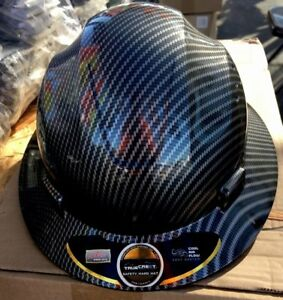 Fiberglass Design Full Brim Hard Hat Black silver With Adj Fas trac Suspension