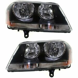 Halogen Headlight Set For 2008 2010 Dodge Avenger Left Right W Bulbs Pair