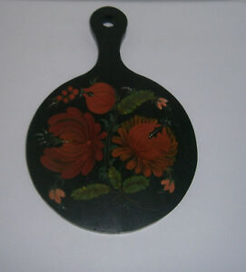 Vintage Toleware Hand Painted Wooden Cutting Board Black W Floral Design Signed