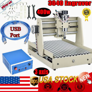 Usb Port 400w 3 Axis 3040 Router Engraver Milling Machine Wood Pcb 3d Cutter Ups