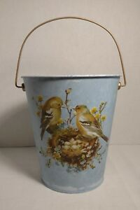 Vintage Inspired Garden Bucket Pail Food Safe Metal Birds Nest 8 Yellow Warbler