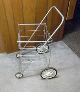 Vintage Wire Flea Market Grocery Laundry Cart 4 Wheels Rather Large Folds Up
