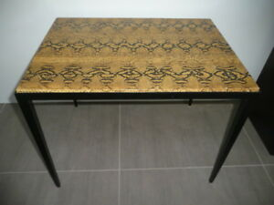 Vtg Garrison Rousseau Signed Python Snake Skin Covered Wrought Iron Side Table